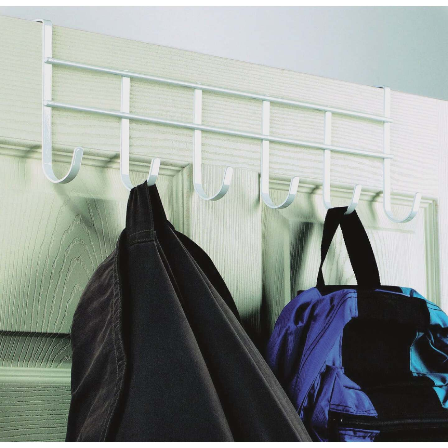 Spectrum White Over-The-Door Hook Rail with 6 Hooks Image 1